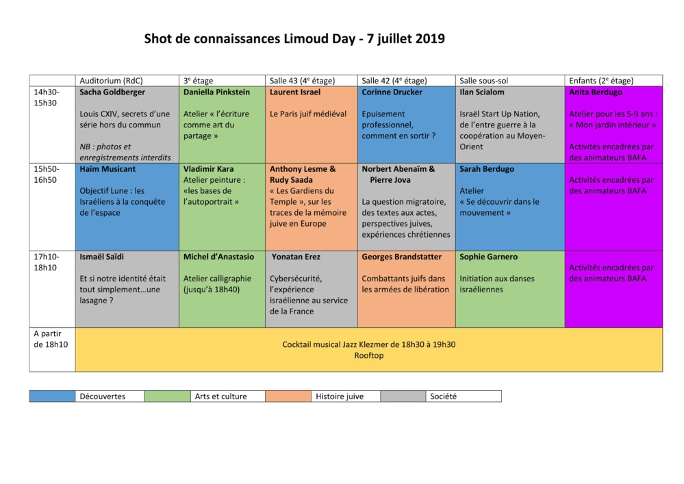 Limoud estival : Votre programme du 7 juillet !